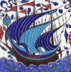 Iznik Tiles: Turkish Galleon - ShopTurkey.com