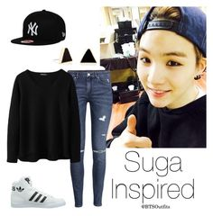 """""""Suga Inspired Outfit"""" by btsoutfits ❤ liked on Polyvore featuring H&M, adidas Originals and Janna Conner"""