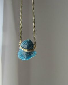 Blue kyanite stone necklace raw rock crystal pendant by lunahoo