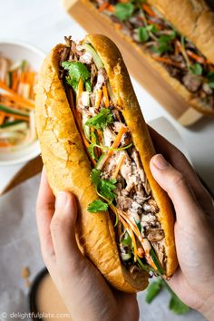 Cooker Vietnamese Pulled Pork Banh Mi With a slow cooker to cook the pulled pork, this delicious banh mi recipe cannot be easier to make.With a slow cooker to cook the pulled pork, this delicious banh mi recipe cannot be easier to make. Roast Beef Sandwich, Banh Mi Sandwich, Sandwich Bar, Sandwich Spread, Cubano Sandwich, Slow Cooker Recipes, Crockpot Recipes, Cooking Recipes, Cooking Games