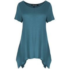 Urban CoCo Womens Sidetail Tunic Tops Swing Loose Comfy Basic Shirt ($12) ❤ liked on Polyvore featuring tops, tunics, loose knit top, cut loose tops, blue top, loose shirts and cut loose shirt