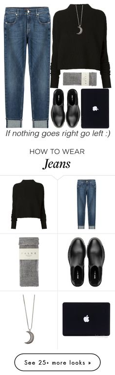 """""""New Way"""" by crblackflag on Polyvore featuring 7 For All Mankind, Victoria Beckham, Miu Miu, Falke, Gypsy Warrior, Boots, Sweater, jeans and apple"""