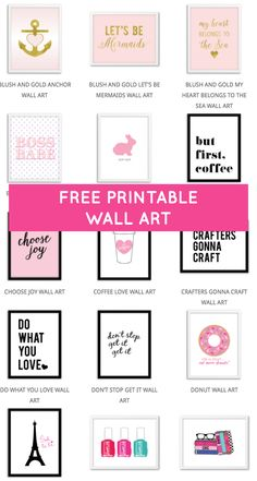 Lots of free printable wall art from @chicfetti http://electricien-deuil-la-barre.lartisanpascher.com/