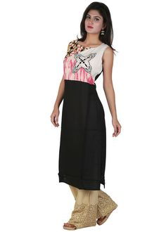Black and Off White Rayon Kurti