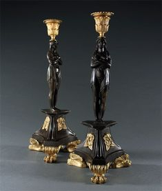 Show details for Near Pair of Candlesticks in the Manner of George Bullock Candelabra, Candlesticks, Thomas Hope, Candle Cups, Site Design, Manners, How To Find Out, Two By Two, Table Lamp