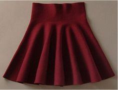 High Waist Woolen Pleated Skirt