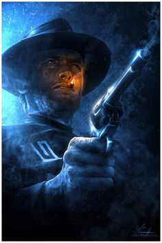 """""""Clint Eastwood: Man with No Name"""" Print by Casey Callender (via Inside the Rock Poster Frame) Eastwood Movies, Clint Eastwood, Digital Art Illustration, Westerns, The Blues Brothers, Black Lagoon, Cowboy Art, Western Movies, No Name"""