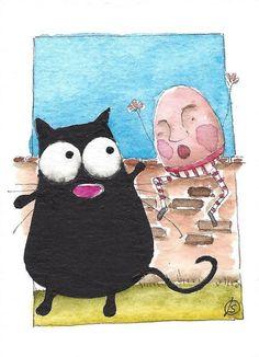 ACEO Original watercolor painting whimsical fat black cat - Humpty Dumpty #IllustrationArt