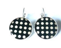 Black Polka Dot Earrings - Dangle Earrings, polka dot earrings, black and white earrings, polka dots jewelry,  teenager gift, gift for her