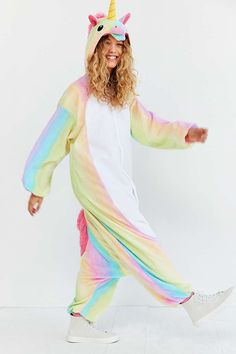 Shop Kigurumi Rainbow Unicorn Costume at Urban Outfitters today. Unicorn Fashion, Unicorn Outfit, Unicorn Costume, Unicorn Clothes, Unicorn Halloween Costume, Real Unicorn, Magical Unicorn, Rainbow Unicorn, Unicorn Birthday Parties