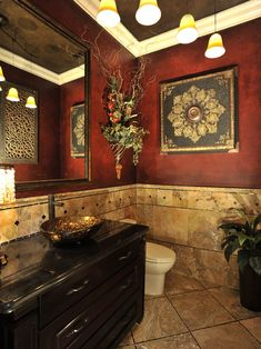 These colors seem so warm - would be nice for our new basement bathroom. Powder Room Design, Pictures, Remodel, Decor and Ideas - page 22