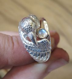 White Raven Ring with Moonstone Companion by GeshaR on Etsy