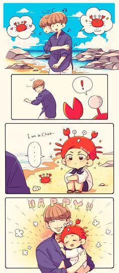 Taehyung being a crab for namjoon is cute❤❤❤ Bts Boys, Bts Bangtan Boy, Bts Jimin, Taekook, Bts Manga, Bts Black And White, Bts Drawings, Bts And Exo, Bts Chibi