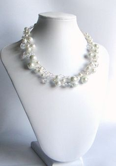Bridal Necklace, White Pearl And Crystal Necklace, Wedding Jewelry, Wire Crochet. $45.00, via Etsy.