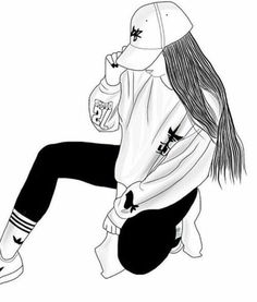 black and white sketches of girls Tumblr Girl Drawing, Tumblr Drawings, Girl Drawing Sketches, Tumblr Art, Cute Girl Drawing, Girly Drawings, Outline Drawings, Art Drawings Sketches Simple, Girl Sketch