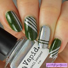 Painted Fingertips | Guest post for Be Happy, Buy Polish - green and silver stripes https://behappyandbuypolish.com/2017/02/27/guest-post-painted-fingertips-vapid-lacquer-spider-fly-cryogenic-refrigerant/