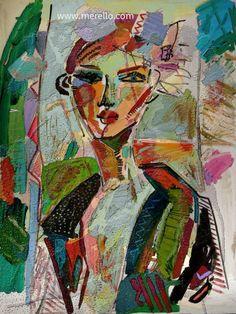 """E Y E S  Jose Manuel Merello.- """"Mujer con flores en el pelo.""""   MODERN ART. http://www.merello.com"""