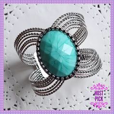 HPGORGEOUS Silver Cuff with Turquoise Stone HOST PICK - WORK WEEK CHIC PARTY - 4/16/2016 - CHOSEN BY: @JAIMERSTONE (JAIME)GORGEOUS Wide Silver Cuff Bracelet with Turquoise Colored Stone. Stunning statement piece that will surely get some compliments! Somewhat adjustable to fit most size wrists! Boutique Jewelry Bracelets