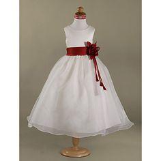 A-line Scoop Floor-length Satin Organza Flower Girl Dress – GBP £ 46.76