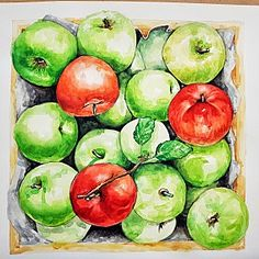 Art Lessons, Watermelon, Mango, My Arts, Apple, Fruit, Flowers, Watercolor Paintings, Wine Cellars