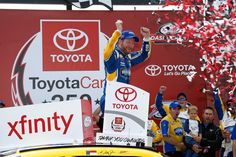 Dale Earnhardt Jr., driver of the #88 Hellmann's Chevrolet, celebrates in Vitory Lane after winning the NASCAR XFINITY Series ToyotaCare 250 at Richmond International Raceway on April 23, 2016 in Richmond, Virginia.