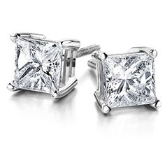 Princess Cut Diamond Studs in a Variety of Weights and Price Points Available Today for Gifting Tomorrow! 0.50 Carat Princess Cut Diamond Stud Earrings Set in 14K White Gold 4 Prong Setting - I1 Clarity and J/K Color