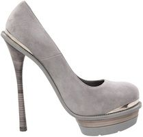 Grey suede platform pump featuring metal detail & rubber sole | 6″ heel 1 1/2″ platform | available online for $985.00 at Zappos