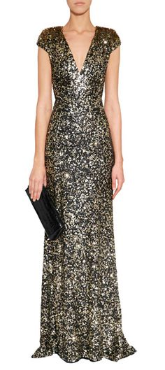 With statement-making sequins and a dramatic floor-sweeping length, this black tie gown from Jenny Packham is an investment in high style #Stylebop