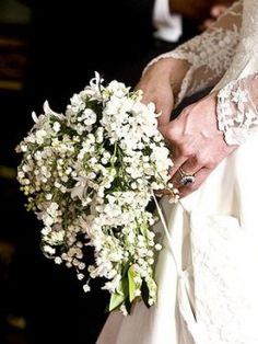 Kate Middleton carried a bouquet that was mainly made of Lily-of-the-Valley flowers-- a small cascade design also composed of Sweet William flowers. How sweet!