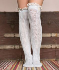 Look at this Three Bird Nest Light Gray Pointelle Knee-High Socks on #zulily today!