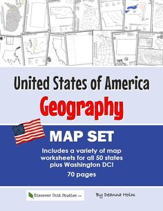 United States of America Geography Map Set Geography Test, Geography Lesson Plans, Geography Worksheets, Map Worksheets, Map Projects, Washington Dc, United States, The Unit, Unit Studies