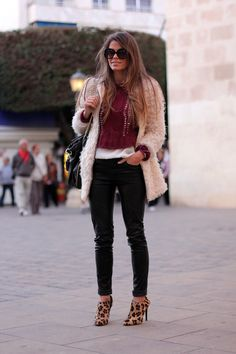 fall outfits womens fashion clothes style apparel clothing closet ideas fur coat sunglasses black pants heels street
