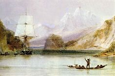 "HMS ""Beagle"" at Tierra del Fuego (painted by Conrad Martens). HMS ""Beagle"" in the seaways of Tierra del Fuego, painting by Conrad Martens during the voyage of the Beagle Honduras Travel, Jamaica Travel, Belize Travel, Costa Rica Travel, Singapore Travel, Peru Travel, Mexico Travel, Wanderlust Travel, Peru Vacation"