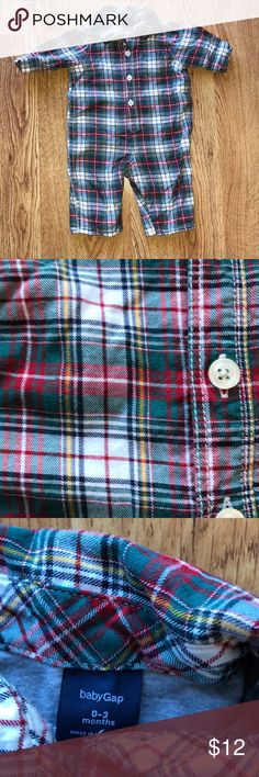 Baby Gap Boys One Piece Plaid | sz 0-3 Adorable outfit for Holiday photos or for Christmas Day.  Soft plaid material is lined with jersey cotton to keep baby warm in cooler climates. Worn once. Great condition. GAP One Pieces