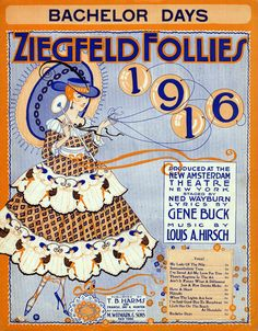 Ziegfeld Follies of 1916 at the New Amsterdam Theatre_BIRD MILLMAN appeared with the Ziegfeld FOLLIES in 1916 along with Fanny Brice  W.C. Fields  Ina Claire  Will Rogers  Ann Pennington, The Ziegfeld Girls (including Marion Davies. Julianne Johnston, Irene Hayes, and Olive Thomas) This was Bird's only appearance in the Follies, however she appeared in the Ziegfeld FROLICS in 1915, 1916, 1918, 1919, and 1921. Bachelor Days Sheet music from the production.