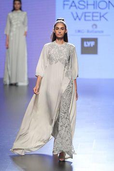 NEETA LULLA Grey floral crochet lace tunic and pants set