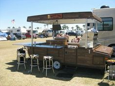 Great use for an old camper. Tailgater!