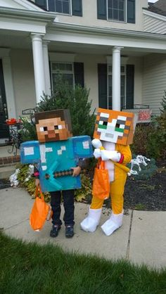 Devin Schultz dressed as Steve from Minecraft, and his brother Logan dressed as Stampy Longnose. By Michael Schultz, Your Take