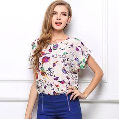 761c3d705 Women Fashion Plus Size Chiffon Clothing Woman Printing Shirt Loose Style  Blouse Blusas Tops Camisas Femininas