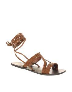 ASOS FIJI Leather Tie Up Flat Sandals $36.93