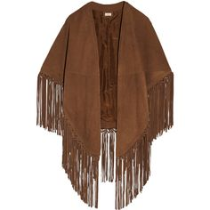 Talitha - Fringed Suede Cape (24.240 CZK) ❤ liked on Polyvore featuring outerwear, coats, jackets, tan, talitha, fringed cape, embroidered kaftan, brown cape and cape coat