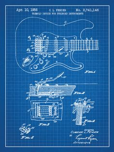 72 best blueprints because blueprints are cool images on pinterest fender stratocaster guitar blueprint graphic art poster in blue gridwhite ink malvernweather Image collections