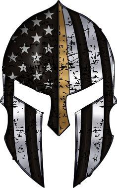 Find the best prices on Warriors Bleed Gold Spartan Helmet Metallic Thin Blue Line - 2 in. Decal and save money. Samurai Helmet Tattoo, Spartan Helmet Tattoo, Warrior Helmet, Spartan Warrior, Helmet Drawing, Spartan Logo, American Flag Art, Patriotic Tattoos, Warrior Tattoos