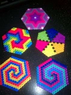 *COOL* Perler Bead Hexagons - Earrings, Ornaments, Gift Tags, Key chain, gift bags, party favors