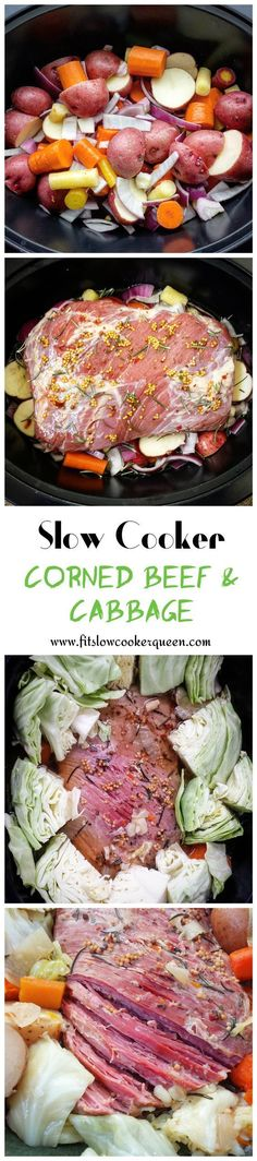 This slow cooker version of corned beef and cabbage uses only a few ingredients. This is known as the traditional or classic Irish dish for St. Patrick's Day. #slowcooker #crockpot