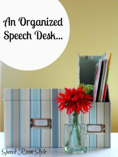 Speech Room Style: An Organized Speech Desk..