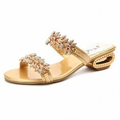 Leaf Rhinestone Beaded Crystal Bling Peep Toe Slip On Square Heel Slippers