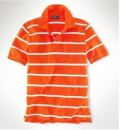 Ralph Lauren Men\u0027s Custom-Fit Striped Short Sleeve Polo Shirt Diver Orange  / White http
