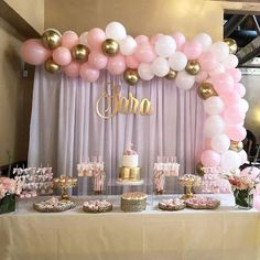 Baby Pink White and Gold Silver Balloon Garland, Balloon Garland Kit, Bridal Shower, Anniversar Baby Shower Table Set Up, Baby Girl Shower Themes, Girl Baby Shower Decorations, Baby Shower Princess, Baby Shower For Girls, Pink Princess Party, Princess Dresses, Shower Baby, Girl Baptism Party