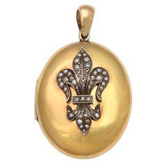 Antique Pearl Fleur de Lis Gold Locket